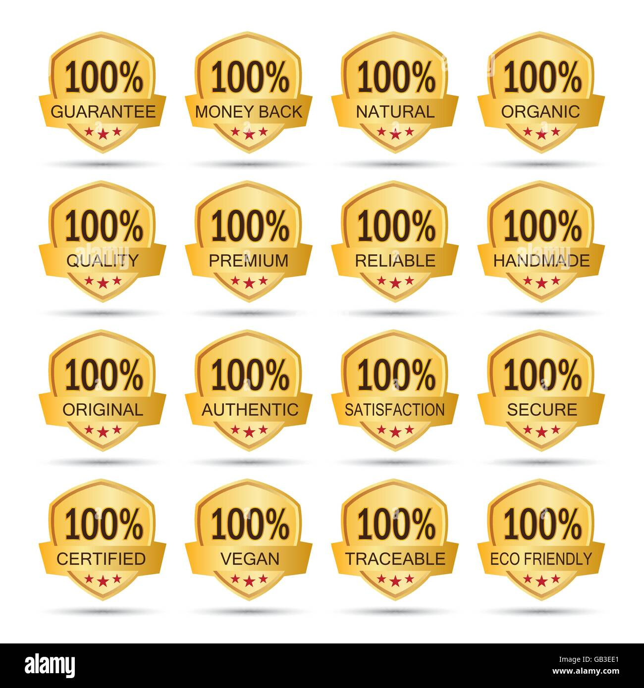 Collection of golden 100% icon logo label badges. guarantee. money back. natural. organic. quality. premium. reliable. - Stock Vector