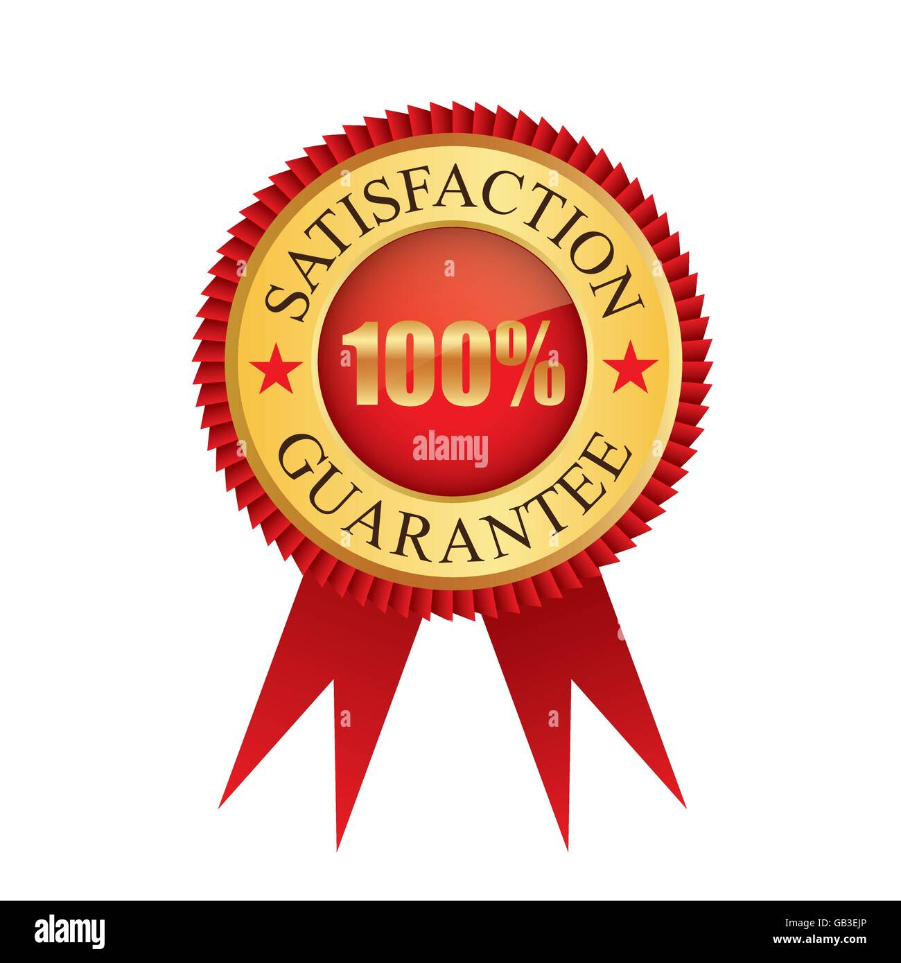 One hundred percent satisfaction guarantee gold badge icon logo vector graphic design - Stock Vector