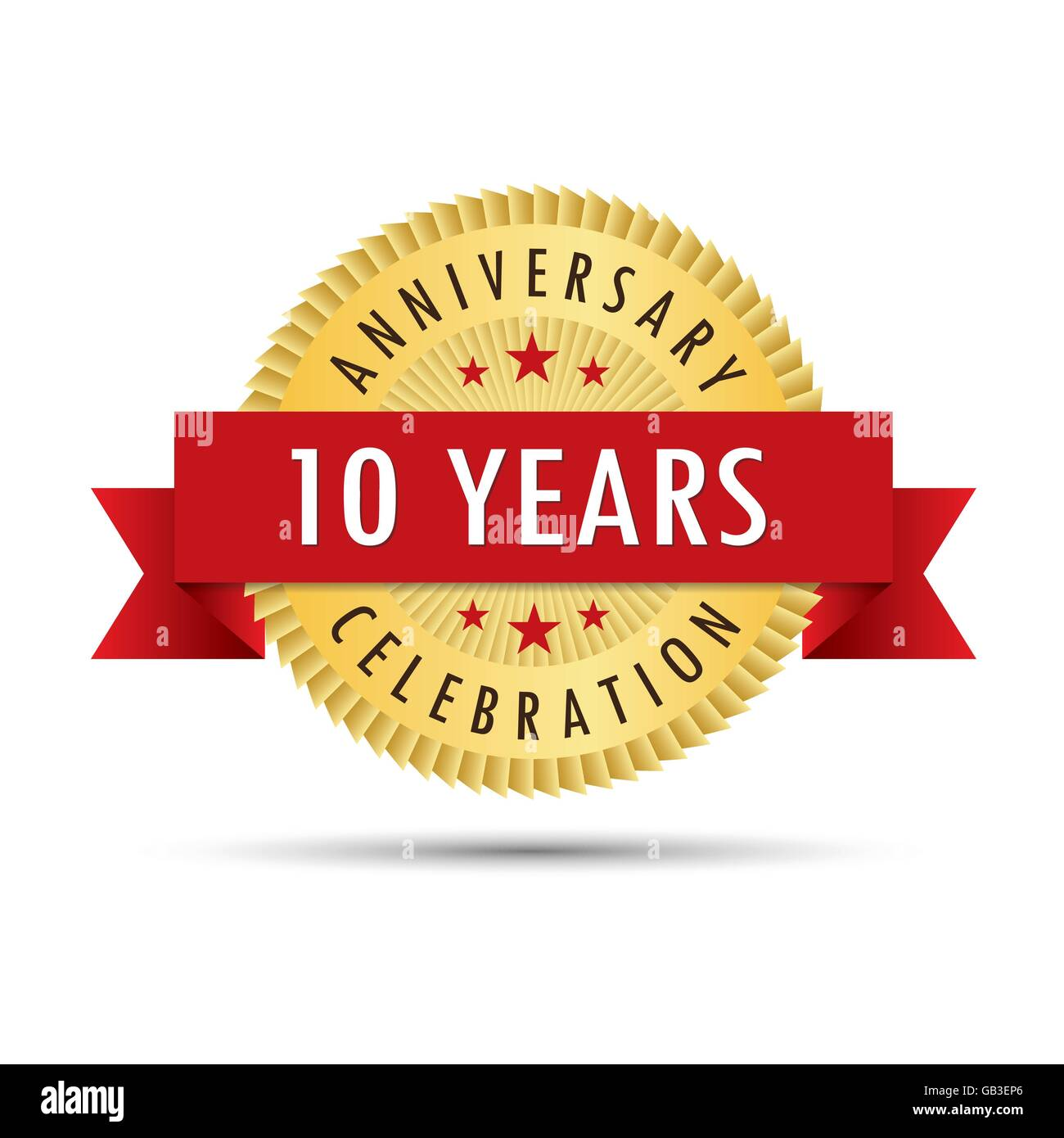 Ten years anniversary, tenth anniversary celebration gold badge icon logo vector graphic design - Stock Vector
