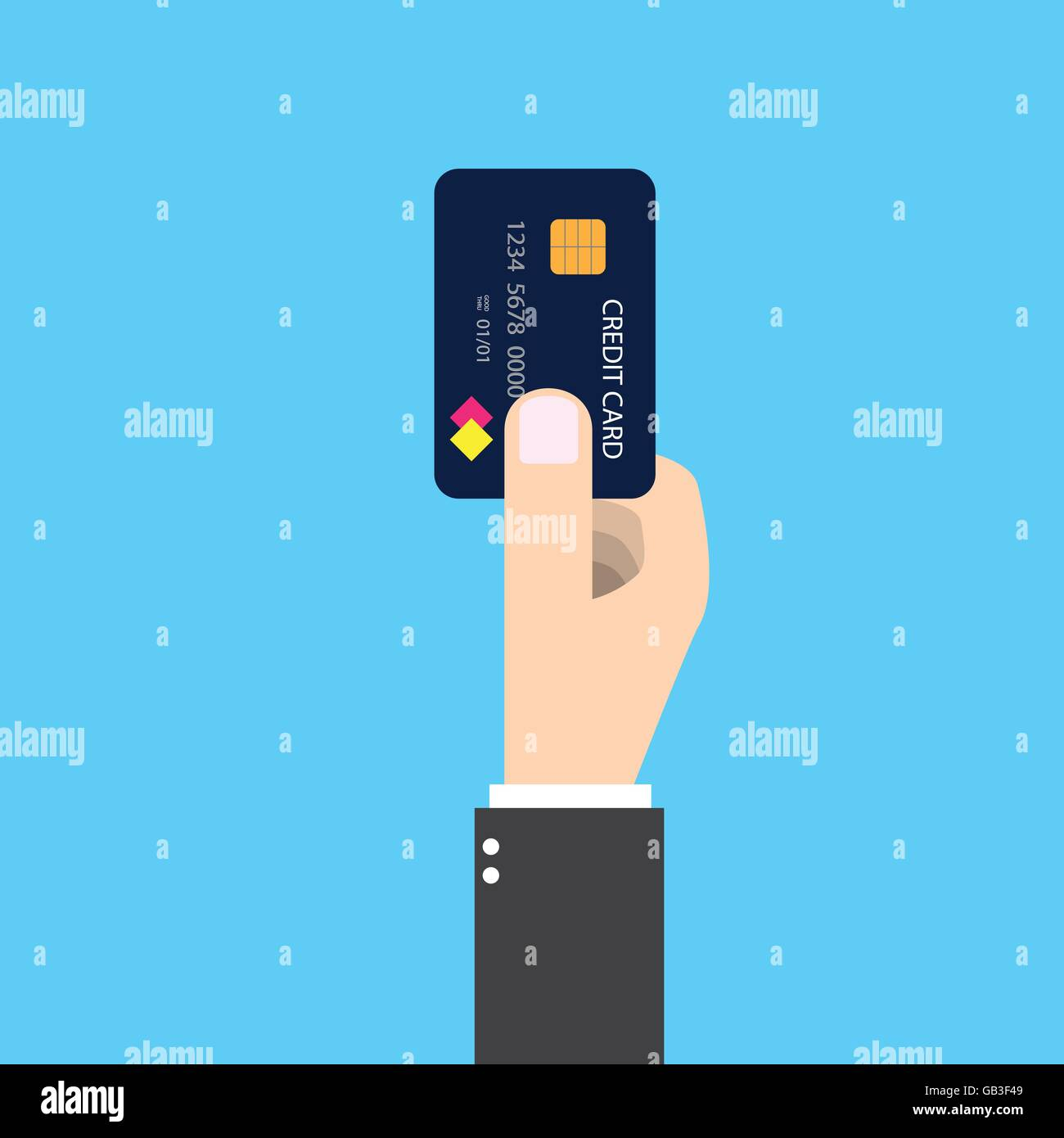 Isolated businessman holding credit card in his right hand. To pay future money buying something by making dept. - Stock Vector