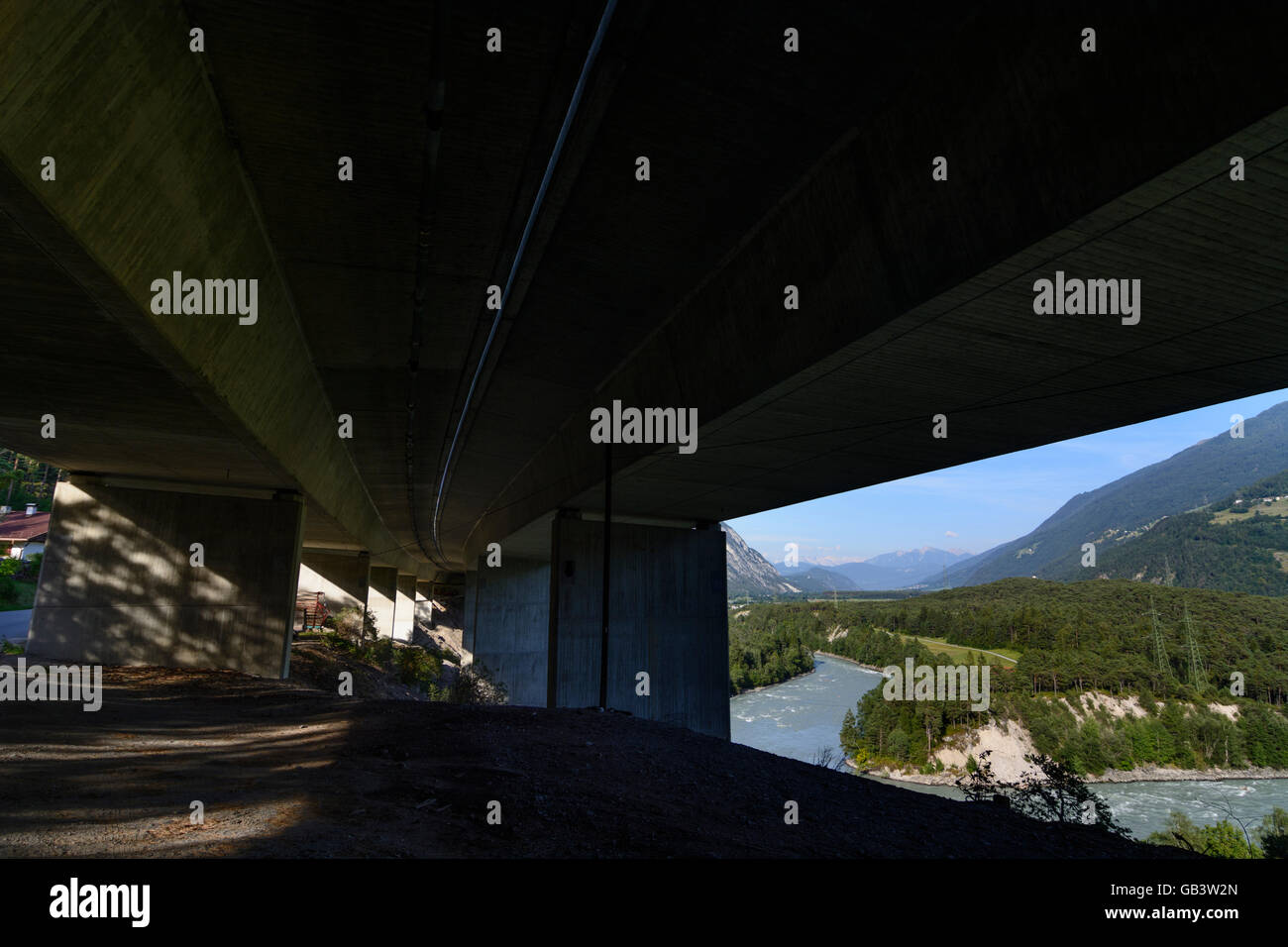 Haiming Highway bridge of the A12 motorway and River Inn Austria Tirol, Tyrol - Stock Image