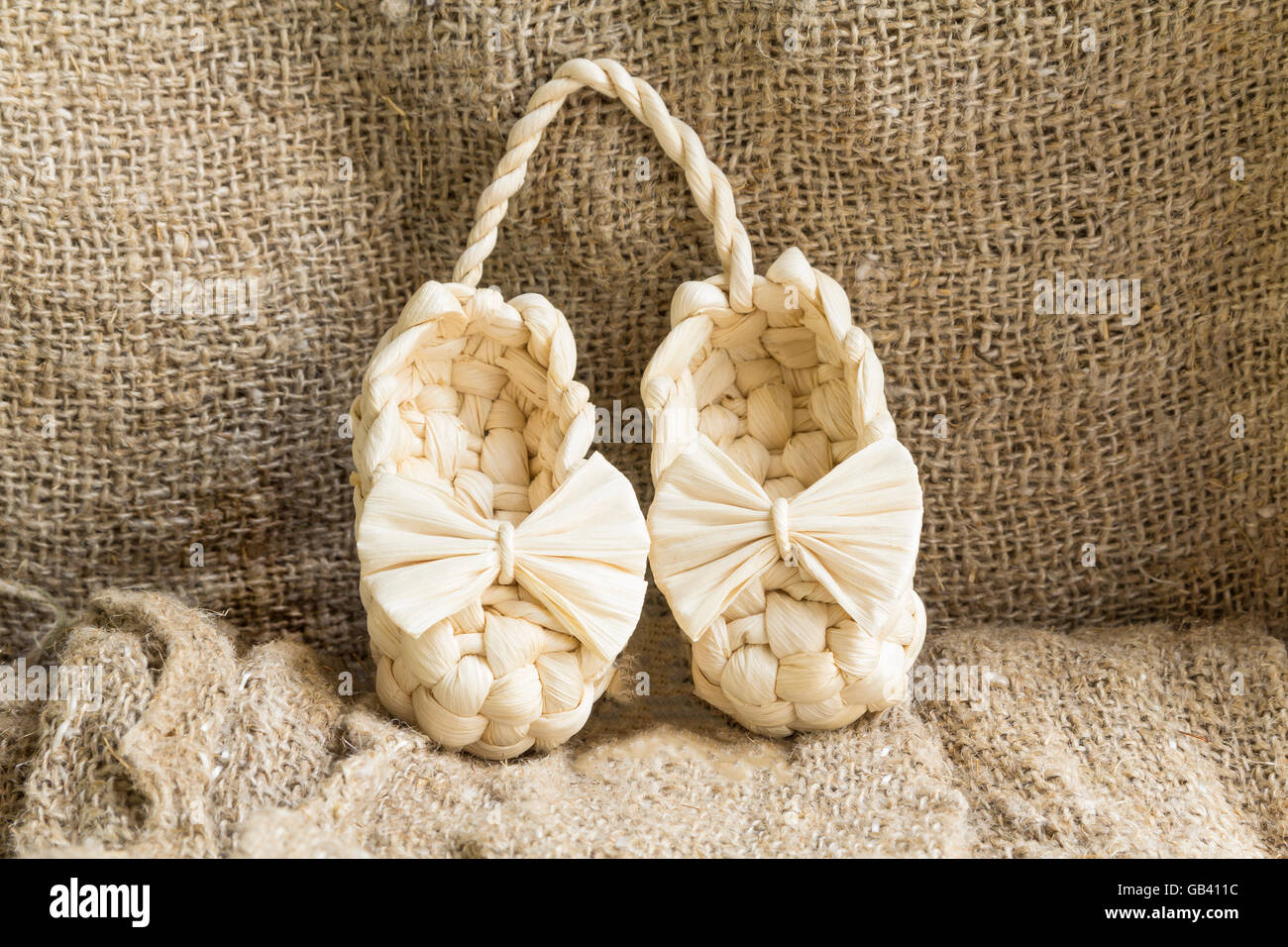 Old Russian sandals made of bark - Stock Image