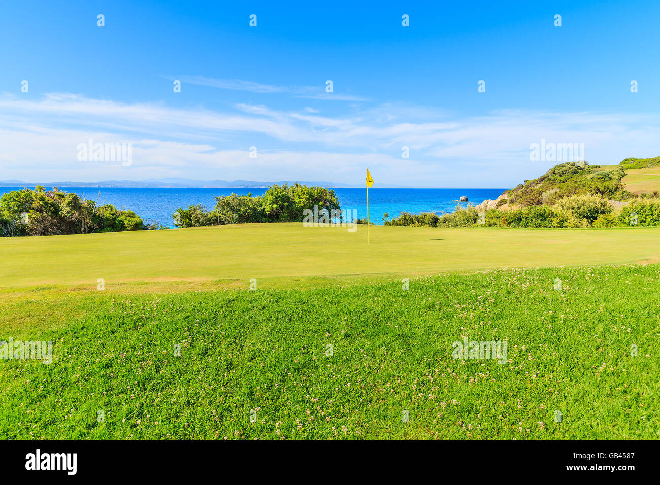 CORSICA ISLAND, FRANCE - JUN 25, 2015: Green grass area on golf course playing area on Corsica island, France. - Stock Image