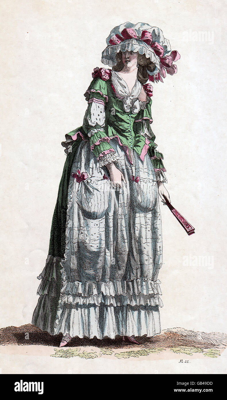 FRENCH WOMEN'S FASHION 1785 from a contemporary German illustration - Stock Image