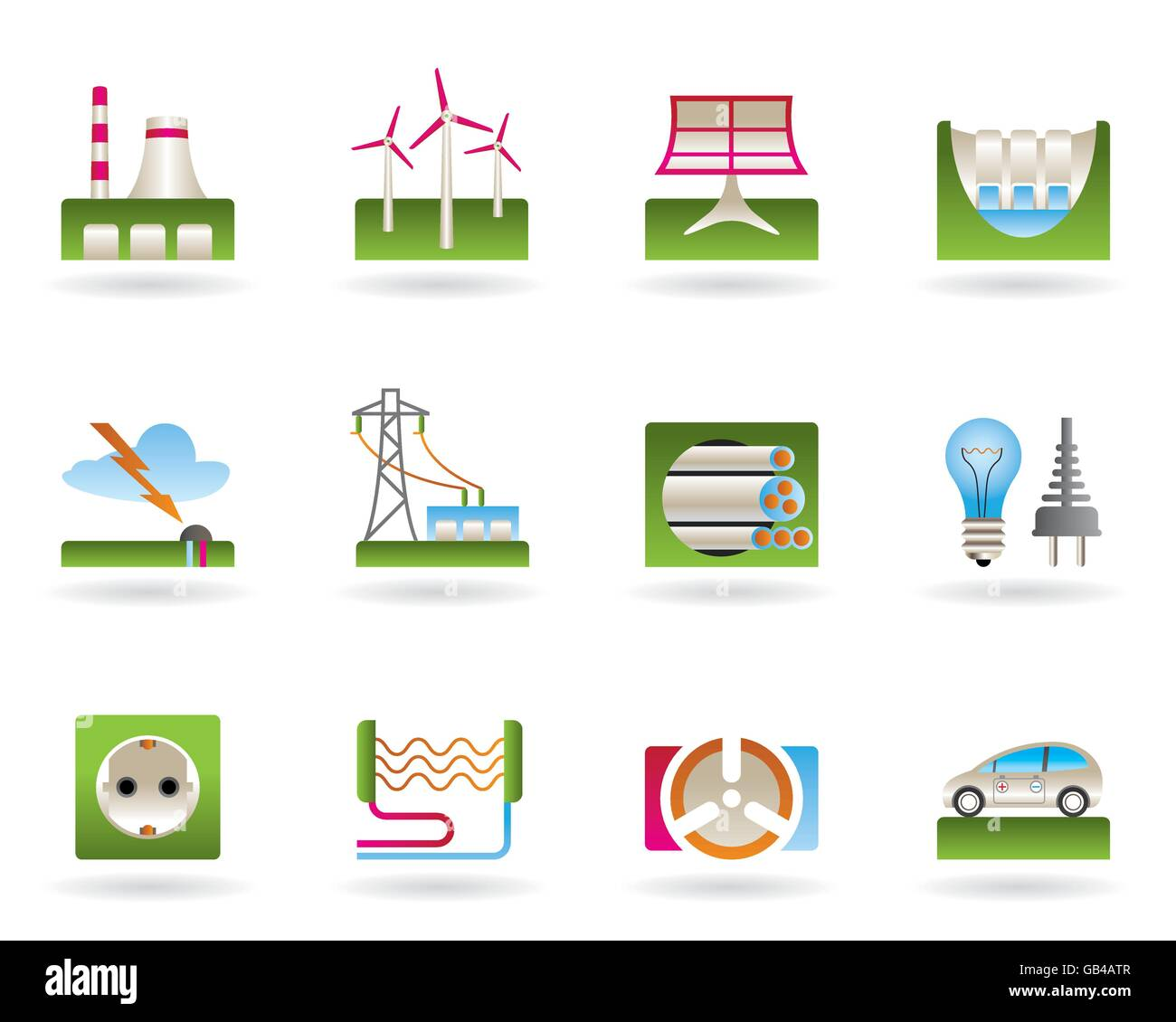 Power plants, electricity grids and electricity consumers - vector illustration Stock Vector