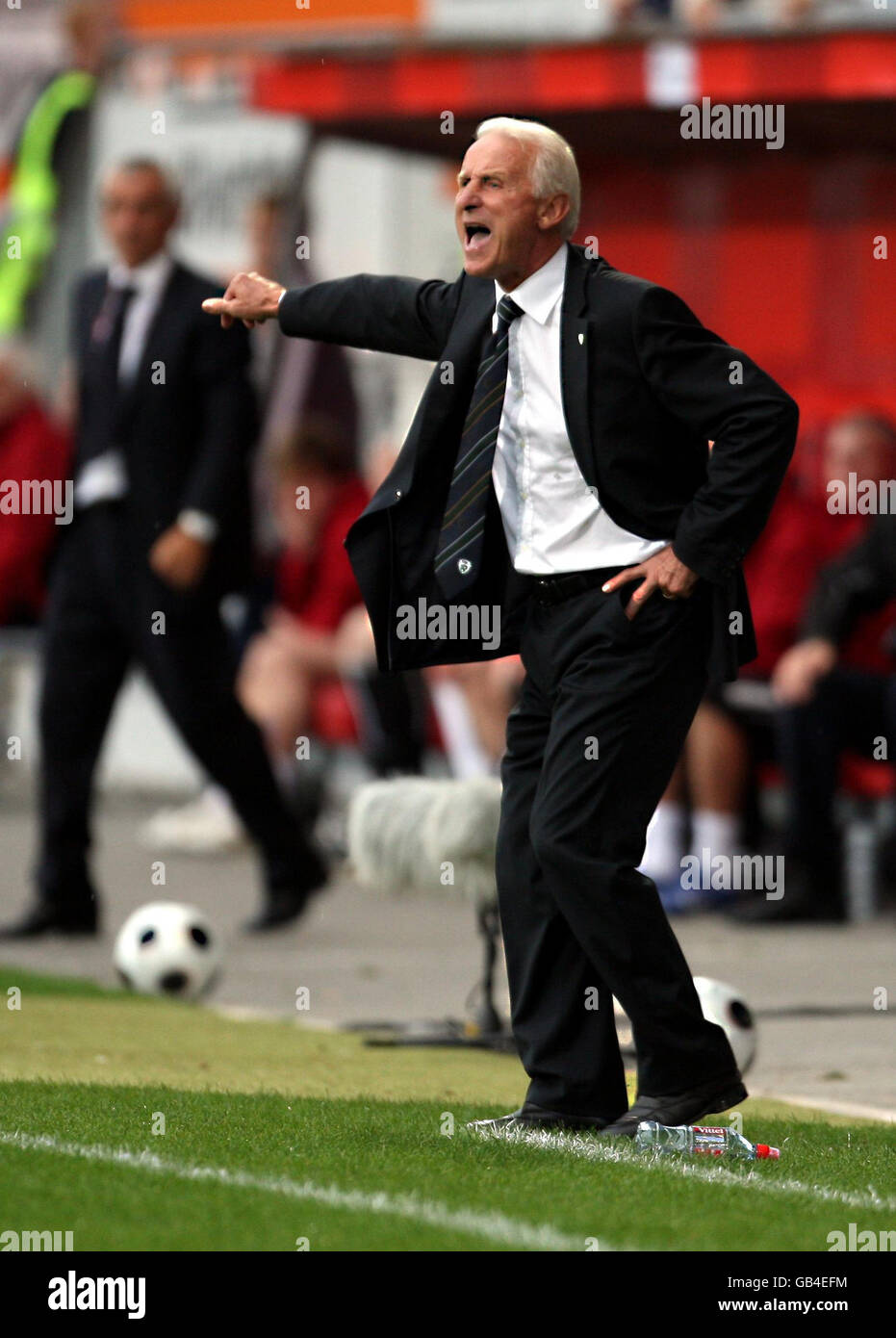 Republic of Ireland manager Giovanni Trapattoni gives instructions from the touchline during the World Cup Qualifying Stock Photo