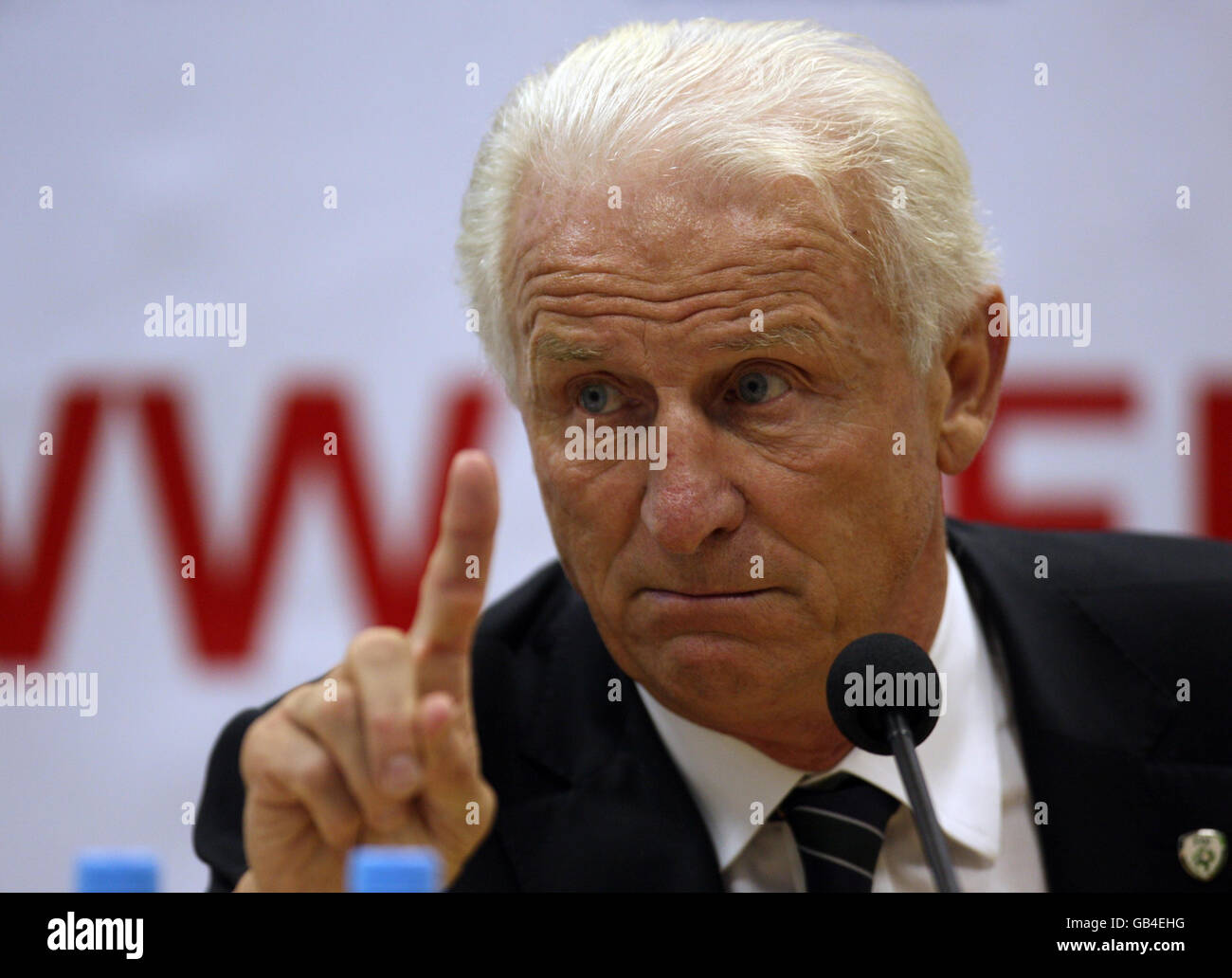 Republic of Ireland Manager Giovanni Trapattoni speaks during the post match press conference following the World Stock Photo