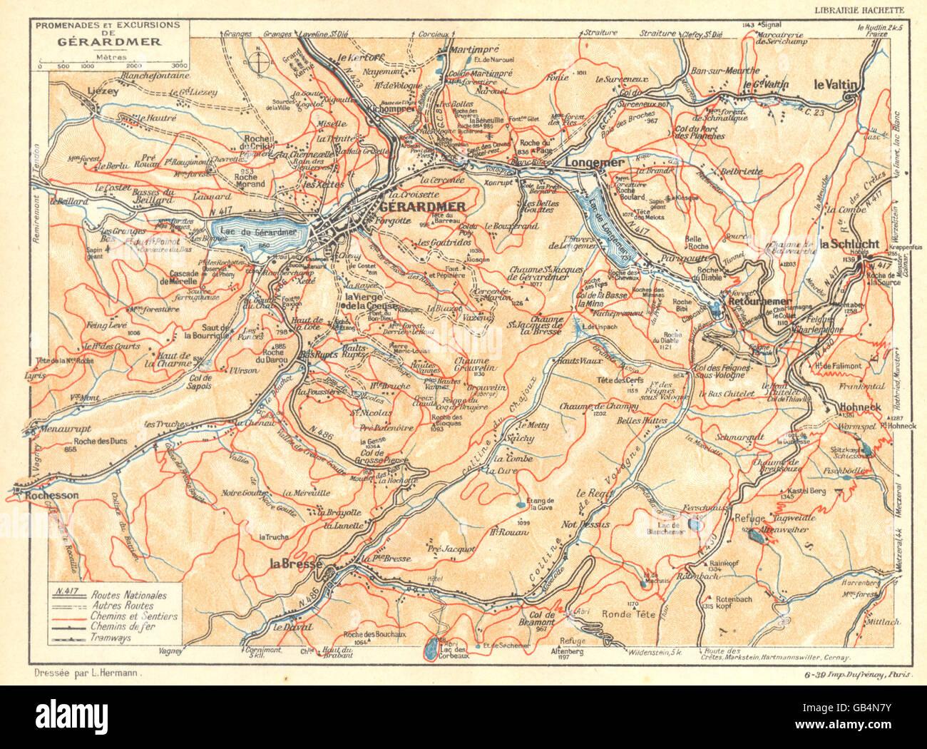 VOSGES: Promenades et Excursions de Gérardmer, 1939 vintage map Stock Photo