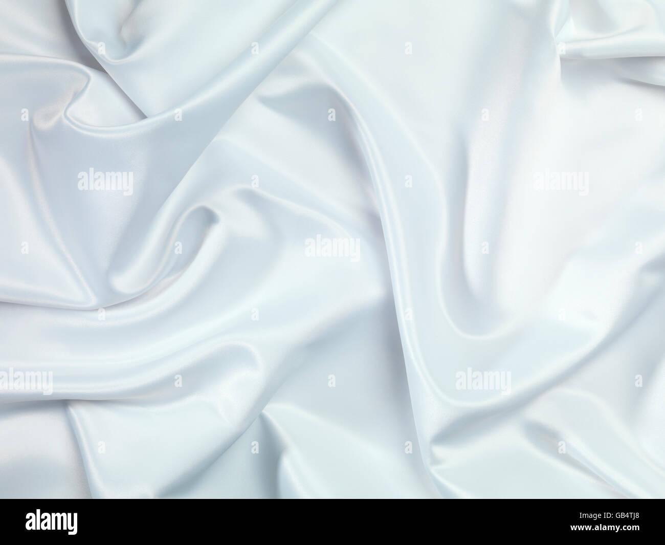 Shiny white silky fabric folds, texture, background - Stock Image