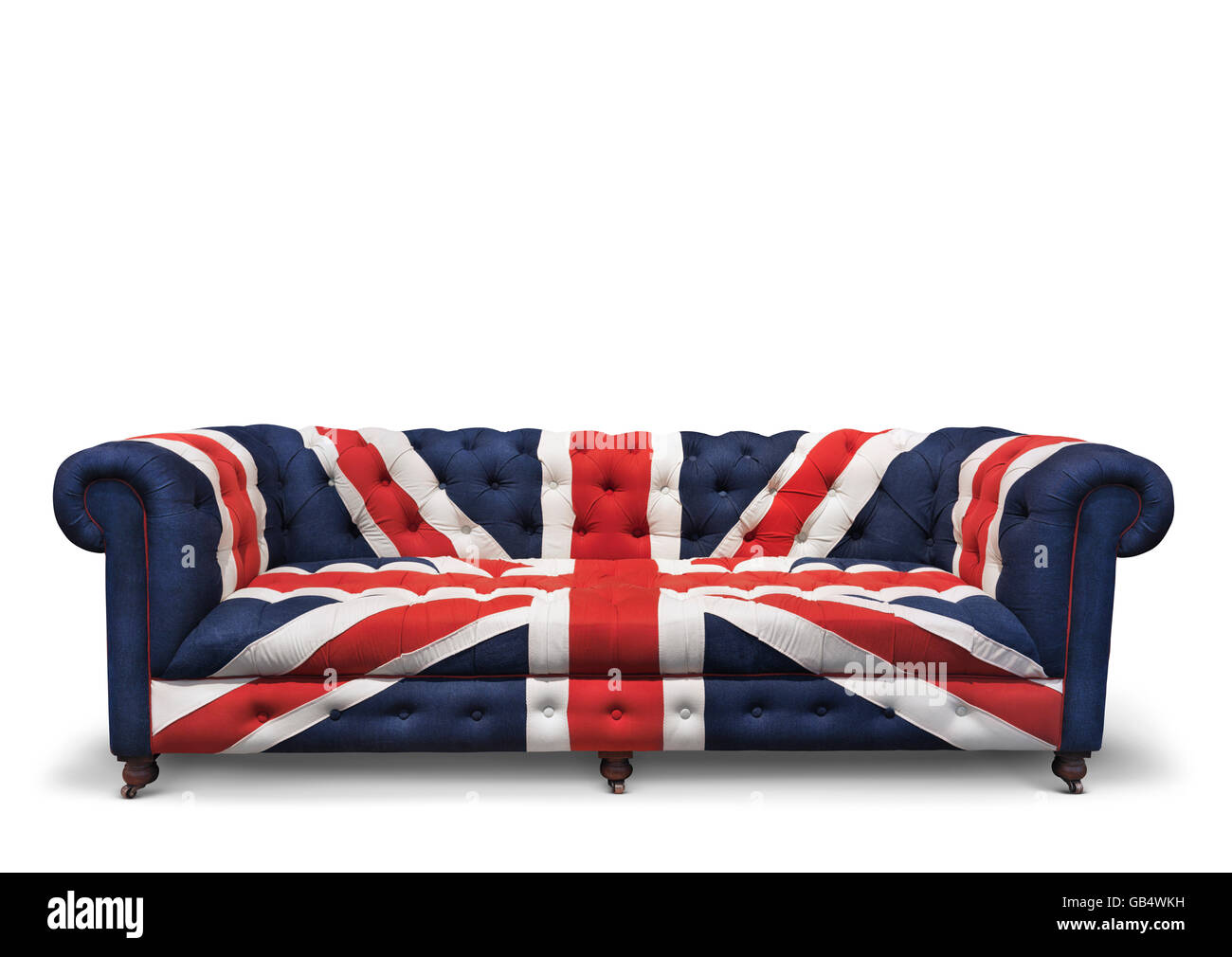 Sofa with a patriotic Union Jack pattern - Stock Image