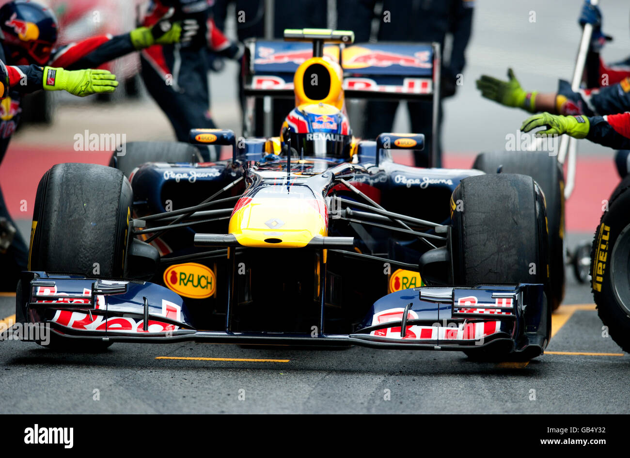Mark Webber Australia During A Pit Stop With His Red Bull Racing Renault