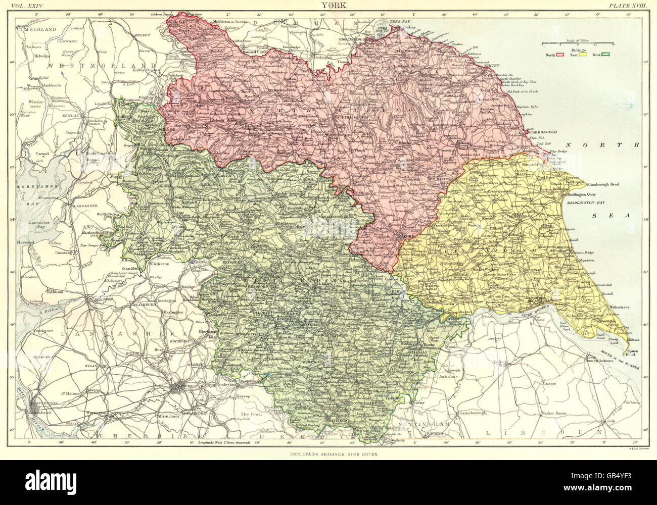 in 1878 ENGLAND /& WALES Britannica 9th edition 1898 map showing counties