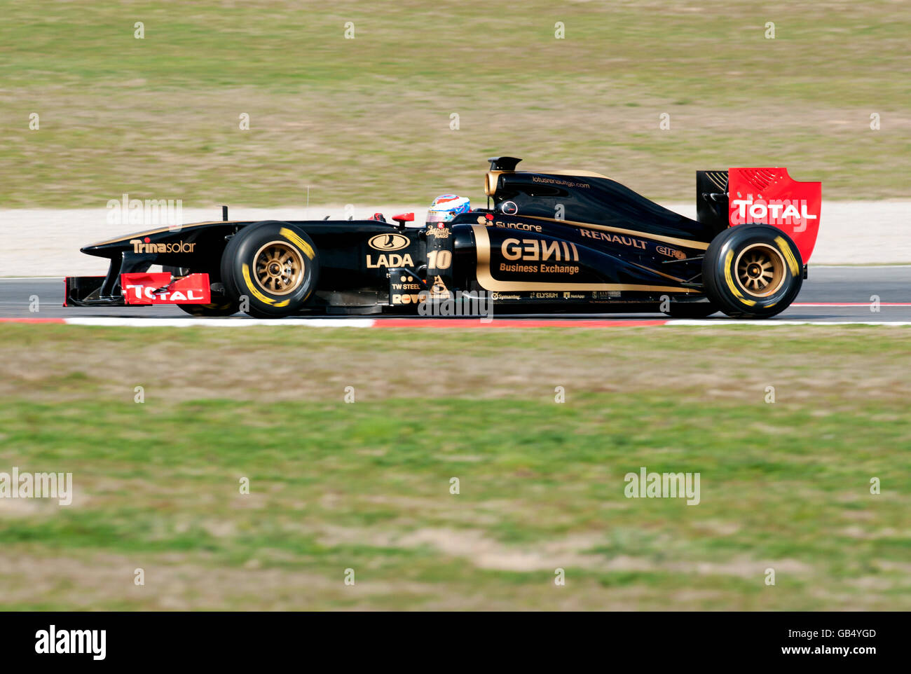 Russian driver Vitaly Petrov in his Lotus Renault GP Team-Renault R31 car, motor sports, Formula 1 testing at the - Stock Image