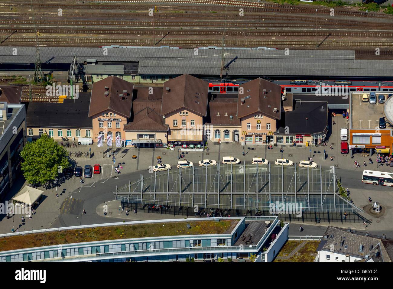 Aerial view, train station, main station,  Siegen, Siegen, Siegen-Wittgenstein district, north rhine-westphalia, - Stock Image