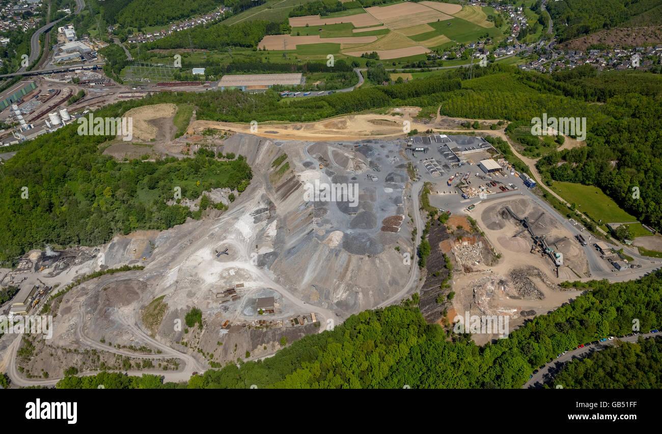 Aerial view, Siegen, landfill, Siegen-Wittgenstein district north rhine-westphalia, Germany, Europe, Aerial view, - Stock Image