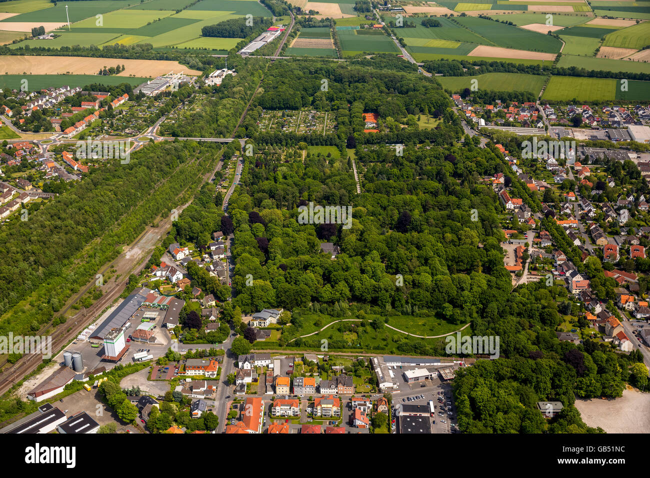 Aerial view, cemetery Soest East, War Cemetery Soest, Soest, Soester Plain, North Rhine-westphalia, Germany, Europe, Stock Photo