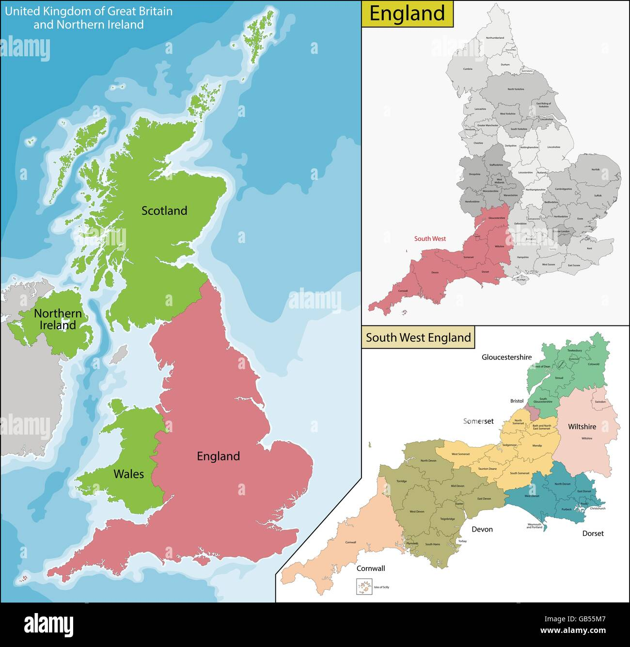 Map of England - Stock Vector