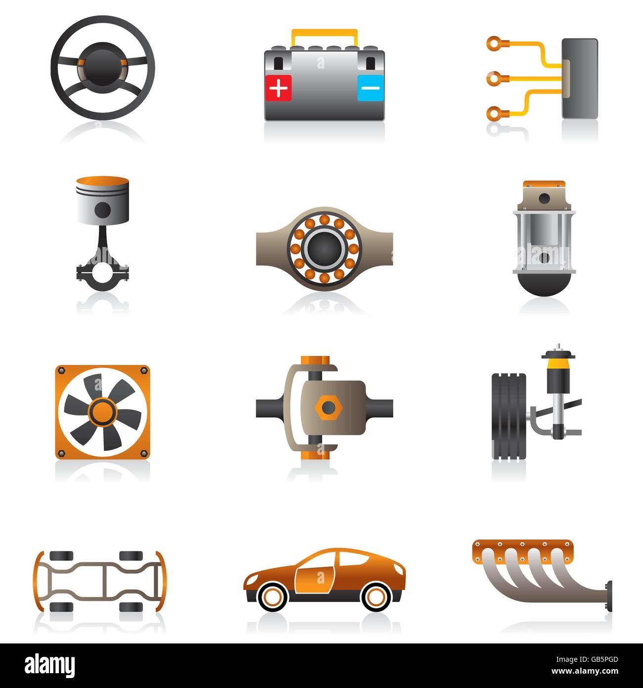 Parts of the car engine - vector illustration Stock Vector Art ...