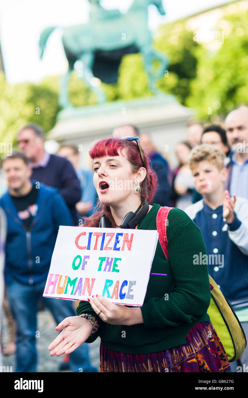 a woman holds a pro EU placard at rally in Liverpool UK Stock Photo