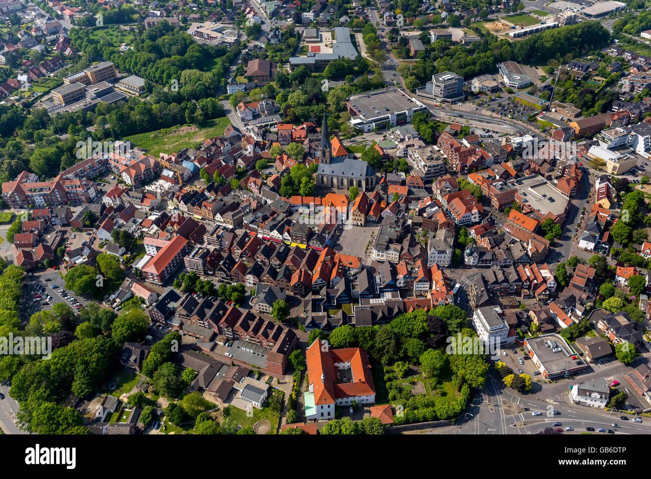 Aerial view, Werne downtown, Werne, Ruhr region, North Rhine Westphalia, Germany, Europe, Aerial view, birds-eyes - Stock Image