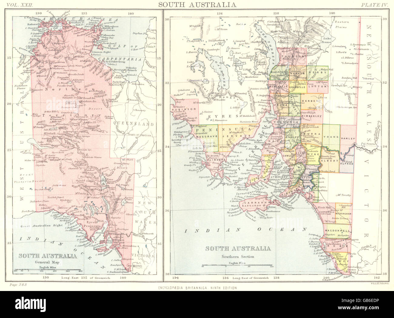 Map Of South Australia And Northern Territory.South Australia Showing Counties Northern Territory Britannica 9th