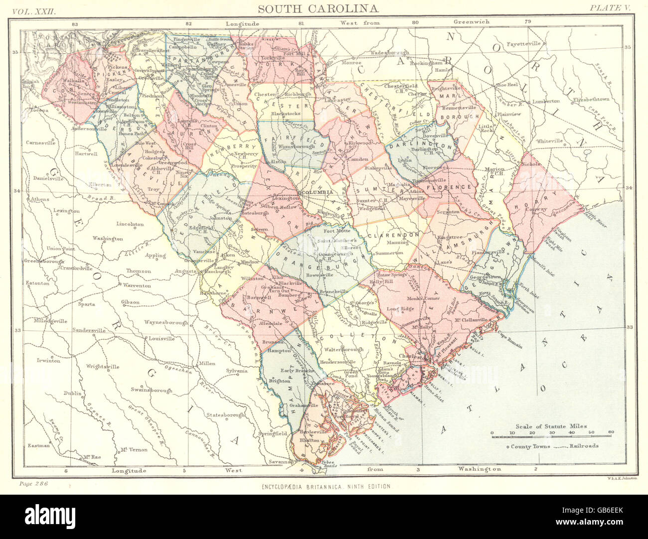 SOUTH CAROLINA: State map showing counties. Britannica 9th ...