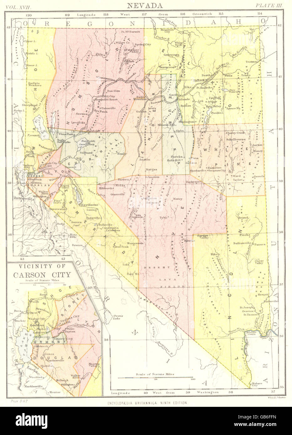 Nevada State Map Showing Counties Inset Carson City Britannica 9th