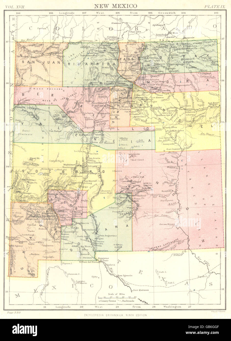 NEW MEXICO: State map showing counties. Britannica 9th edition, 1898 ...