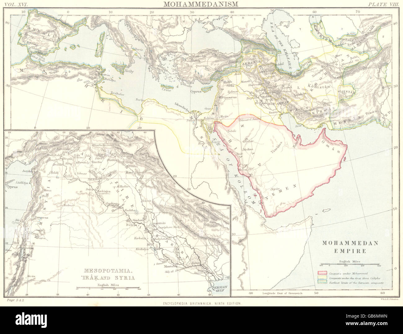 MIDDLE EAST: Islam Muslim Empire; Inset map of Mesopotamia, Iraq ...