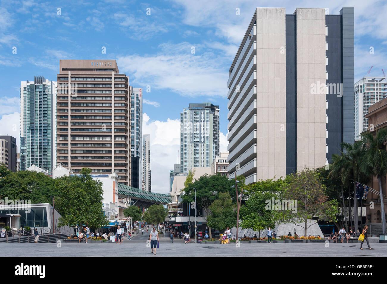 View down Albert Street from King George Square, Brisbane City, Brisbane, Queensland, Australia - Stock Image