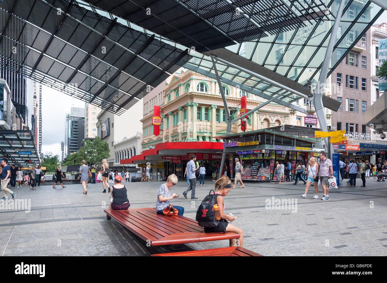 Queen Street Mall at junction of Albert Street, Brisbane City, Brisbane, Queensland, Australia - Stock Image