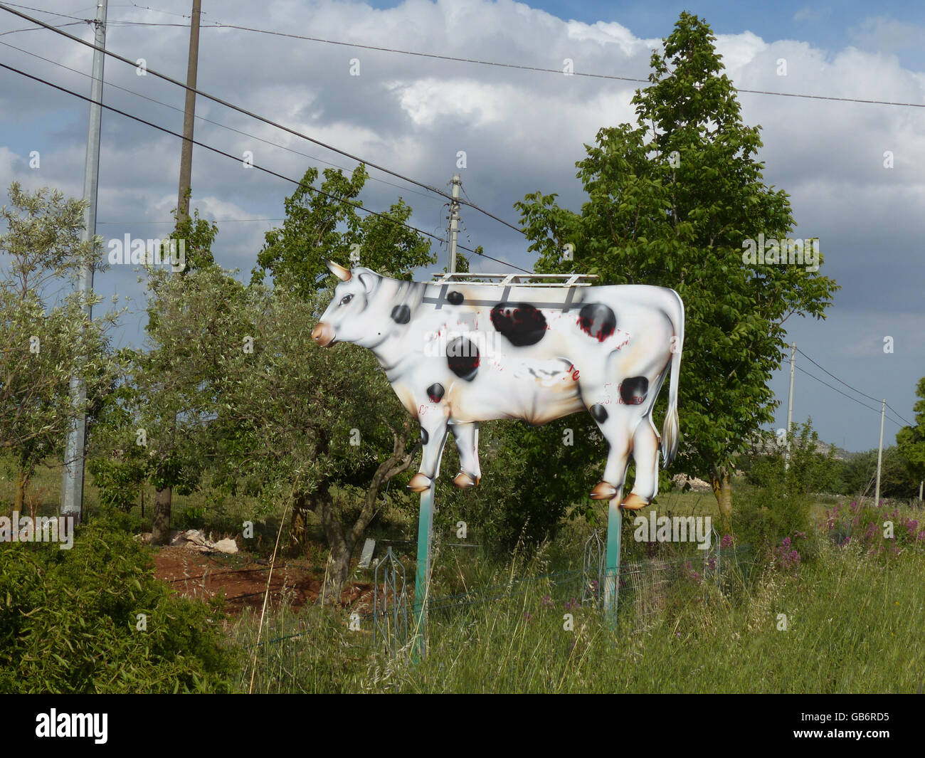 3 dimensional sign in the form of a dairy cow Croatia Stock Photo