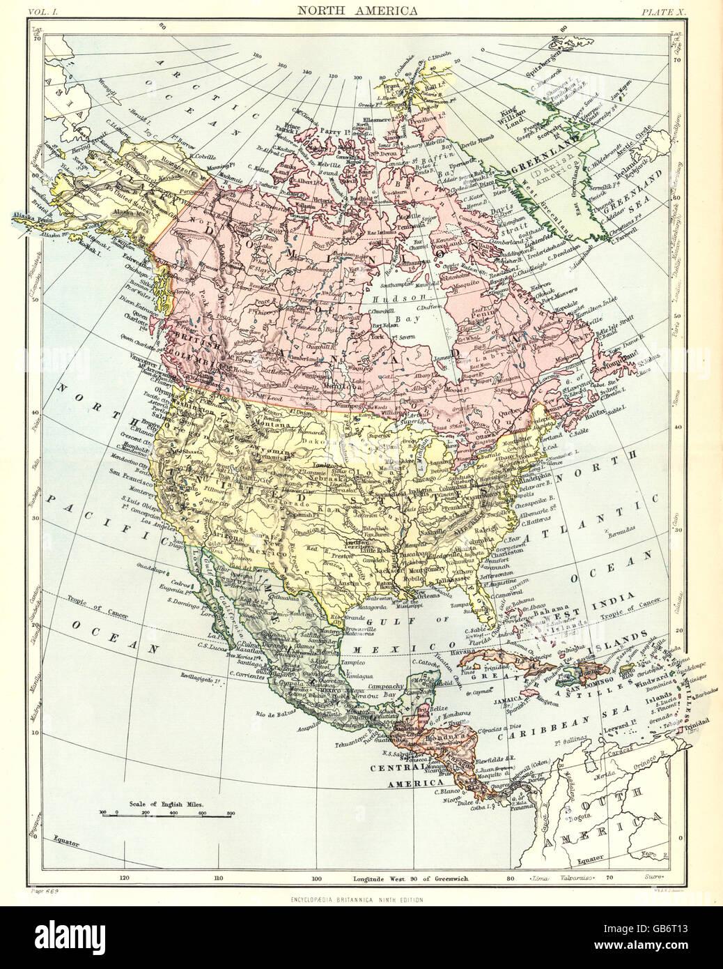 NORTH AMERICA: United States Canada Mexico Central America Stock ...