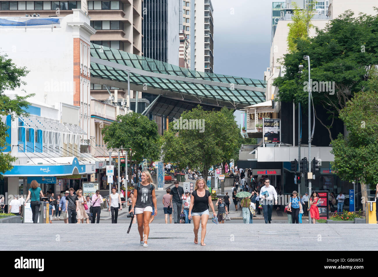 View towards Queen Street from King George Square, Brisbane City, Brisbane, Queensland, Australia - Stock Image
