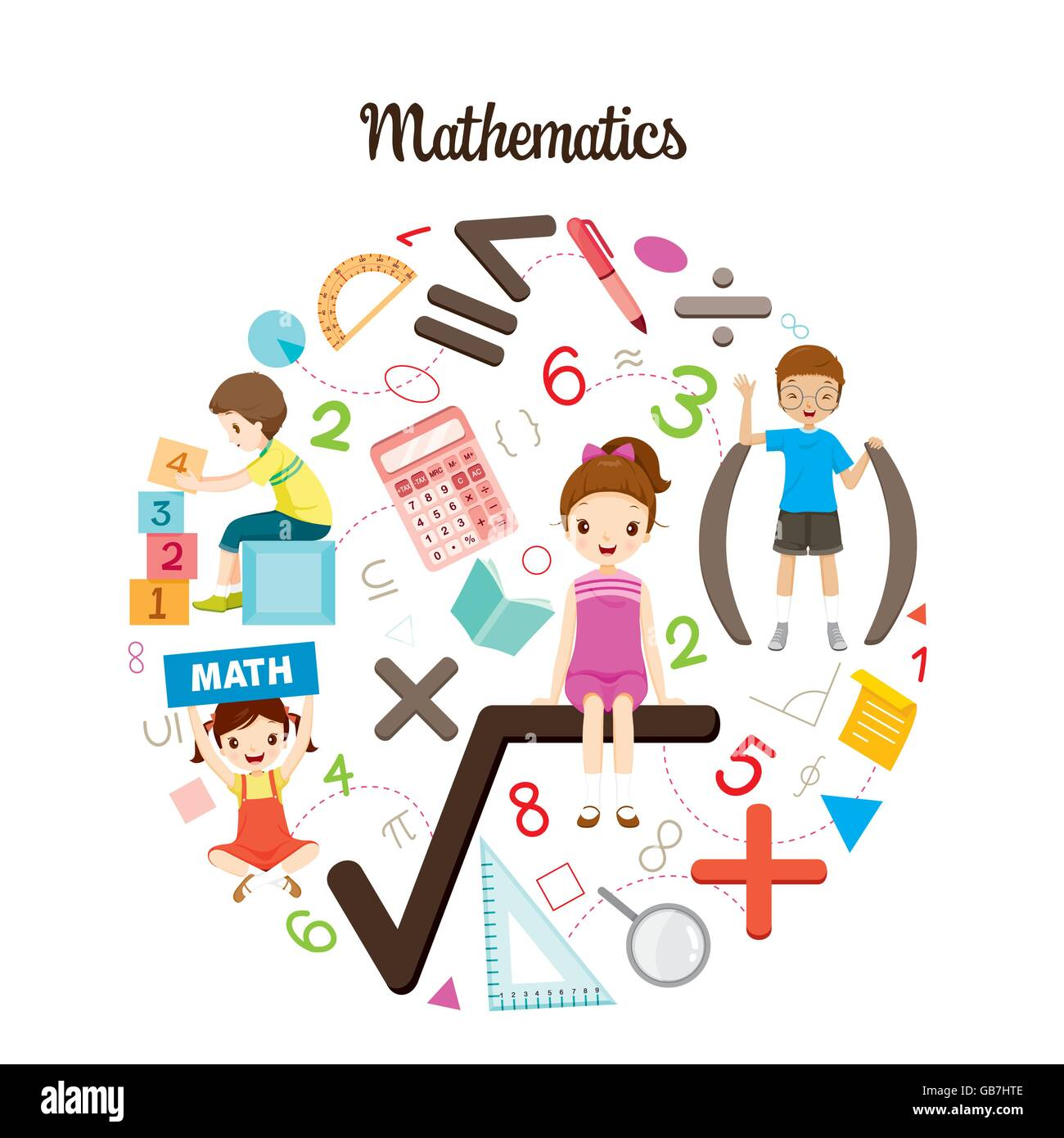 Children With Mathematics Formula, Number And Icons, Back to school ...