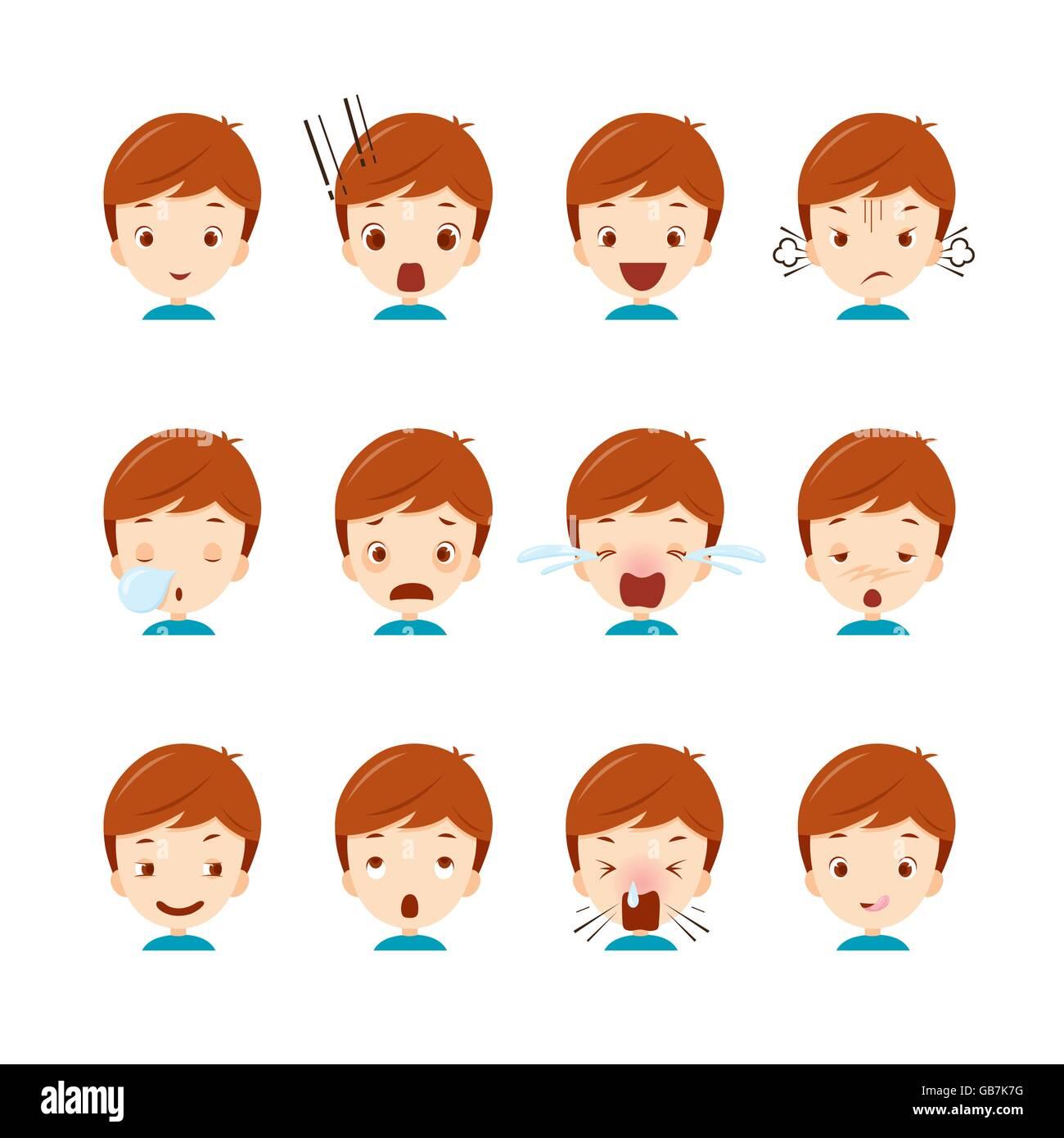 Cute boy emoticons set, emoji, facial, feeling, mood, personality, symbol - Stock Vector