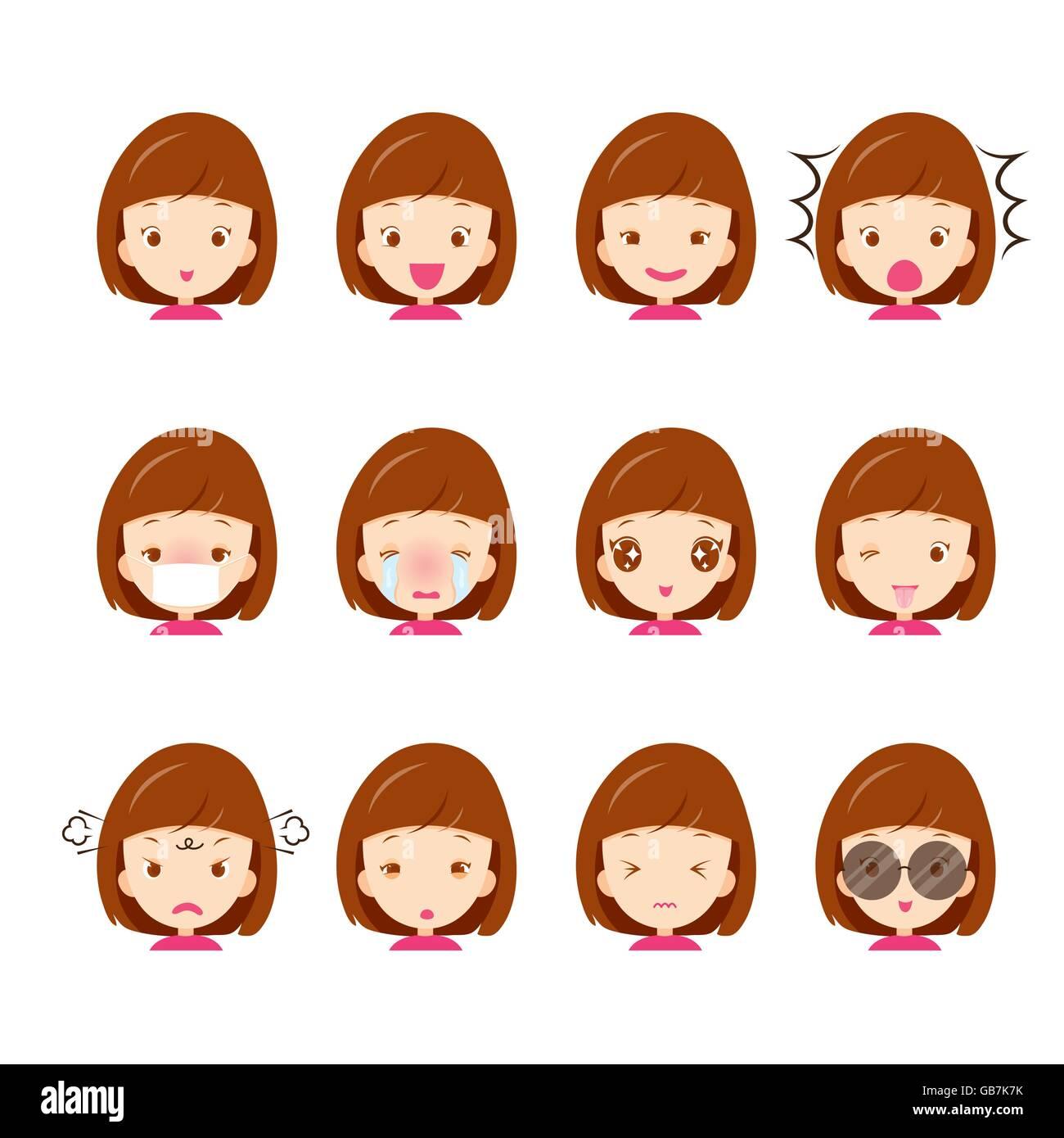 Cute girl emoticons set, emoji, facial, feeling, mood, personality, symbol - Stock Vector