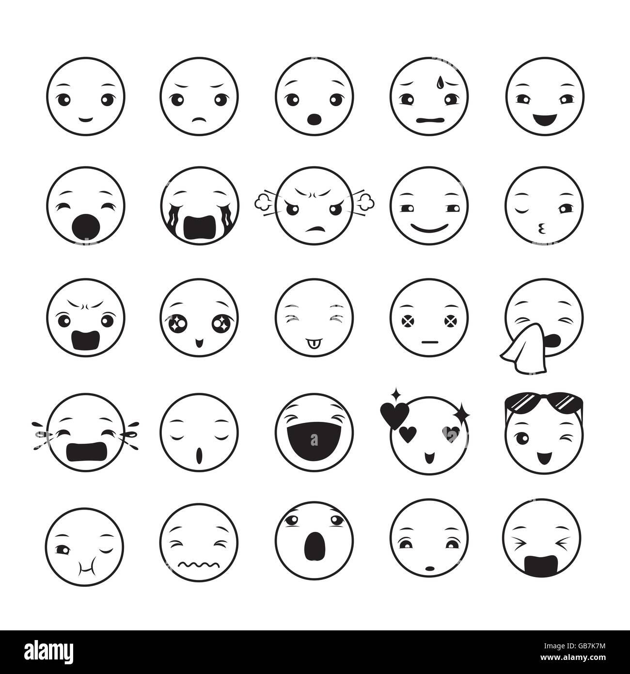 Emoticons set, emoji, facial, feeling, mood, personality, symbol - Stock Vector