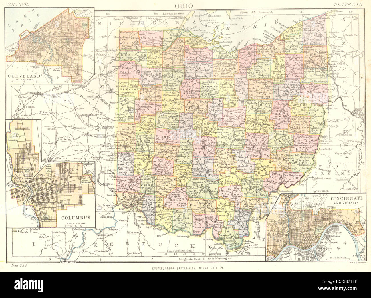 Ohio State Map Showing Counties Inset Cleveland Columbus Stock