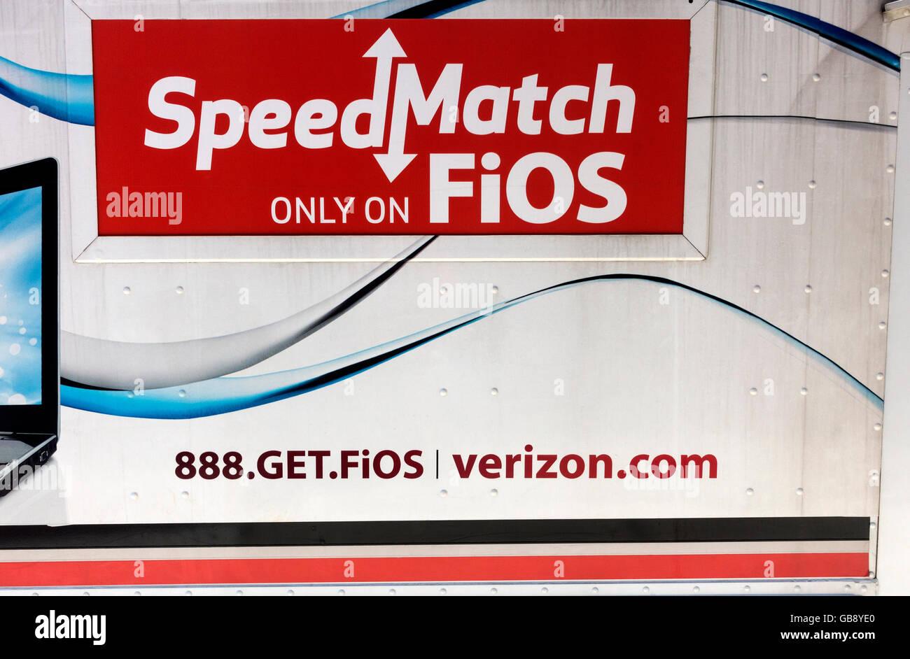 Speed Match FiOS Verizon truck in New York City - Stock Image