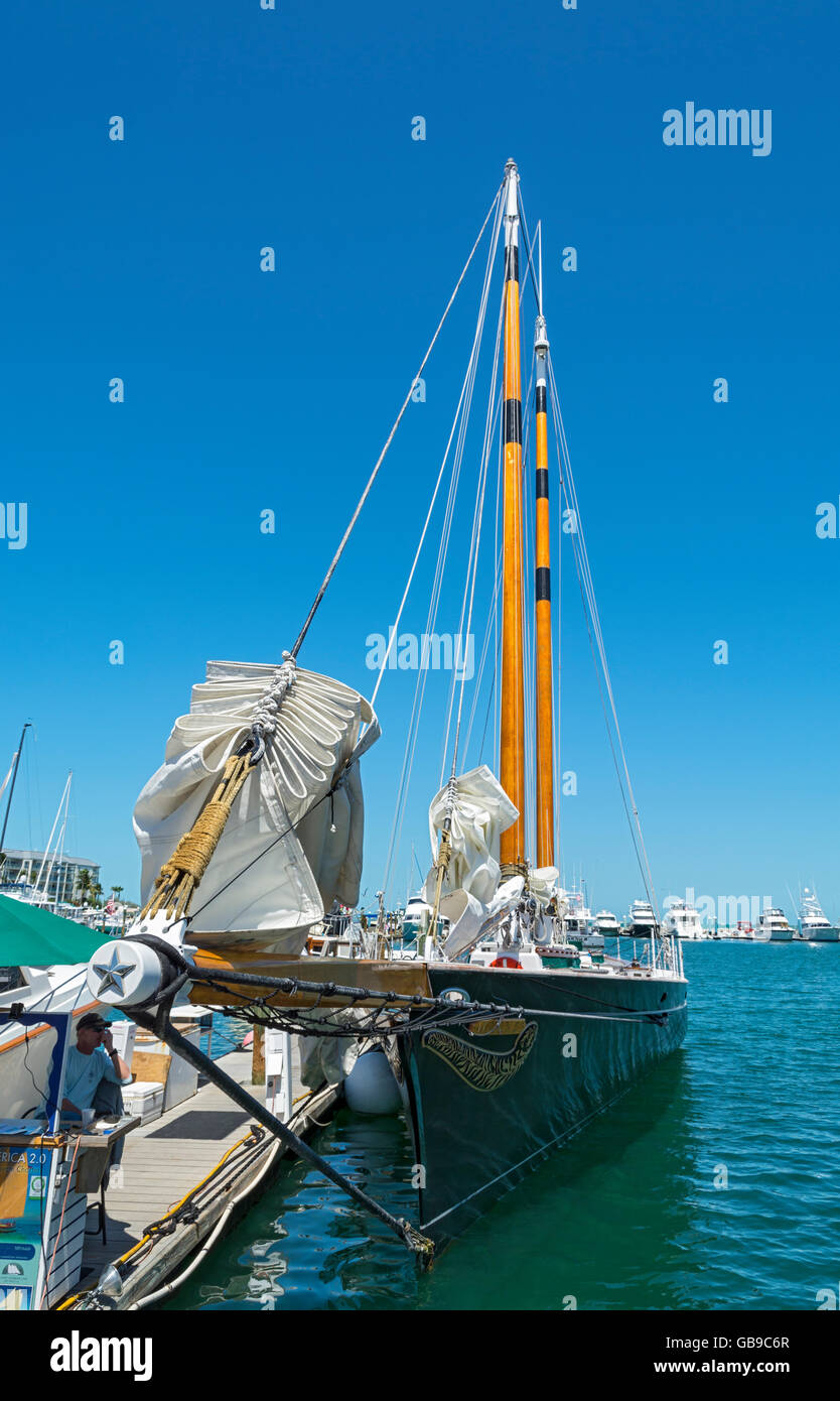 Florida, Key West, charter sailboat, sailing yacht Schooner America 2.0 Stock Photo