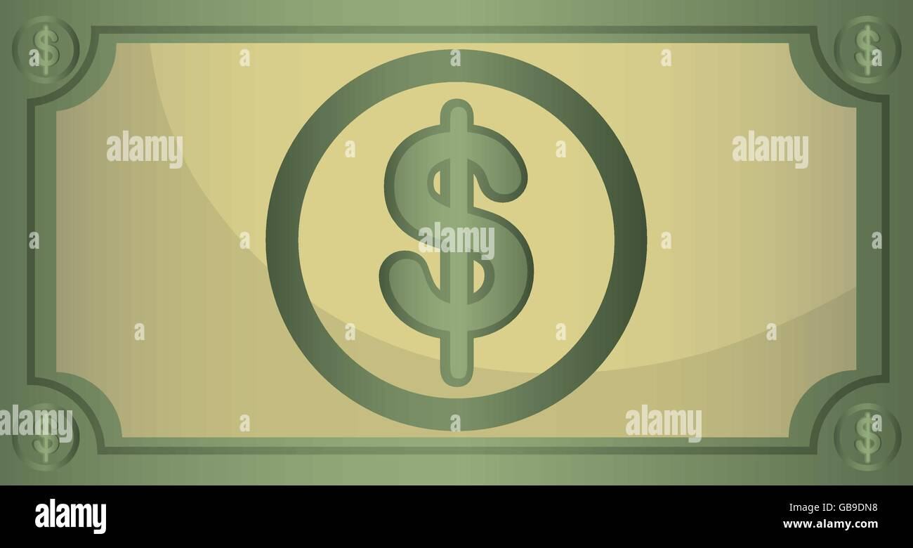 Money billet isolated flat design. - Stock Image
