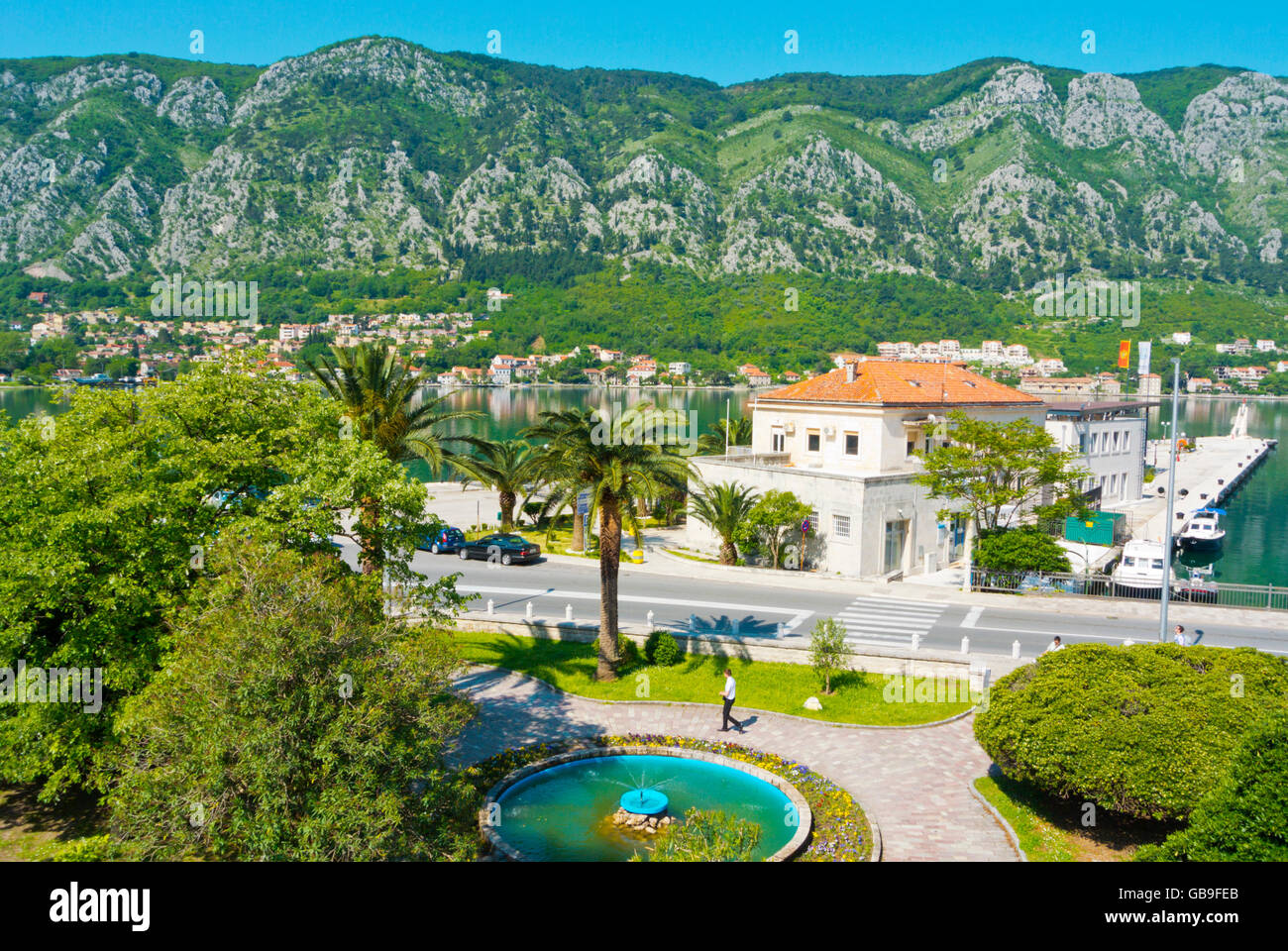 View from Kampana tower, towards Port Authority building and the bay of Kotor, Kotor, Montenegro Stock Photo