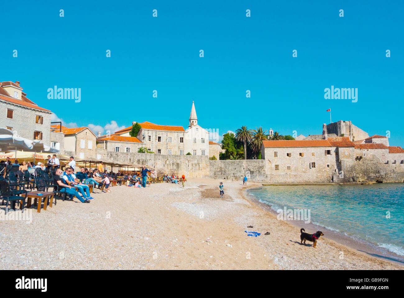 Ricardova glava, Richard's Head beach, at old town, Budva, Montenegro, Europe Stock Photo
