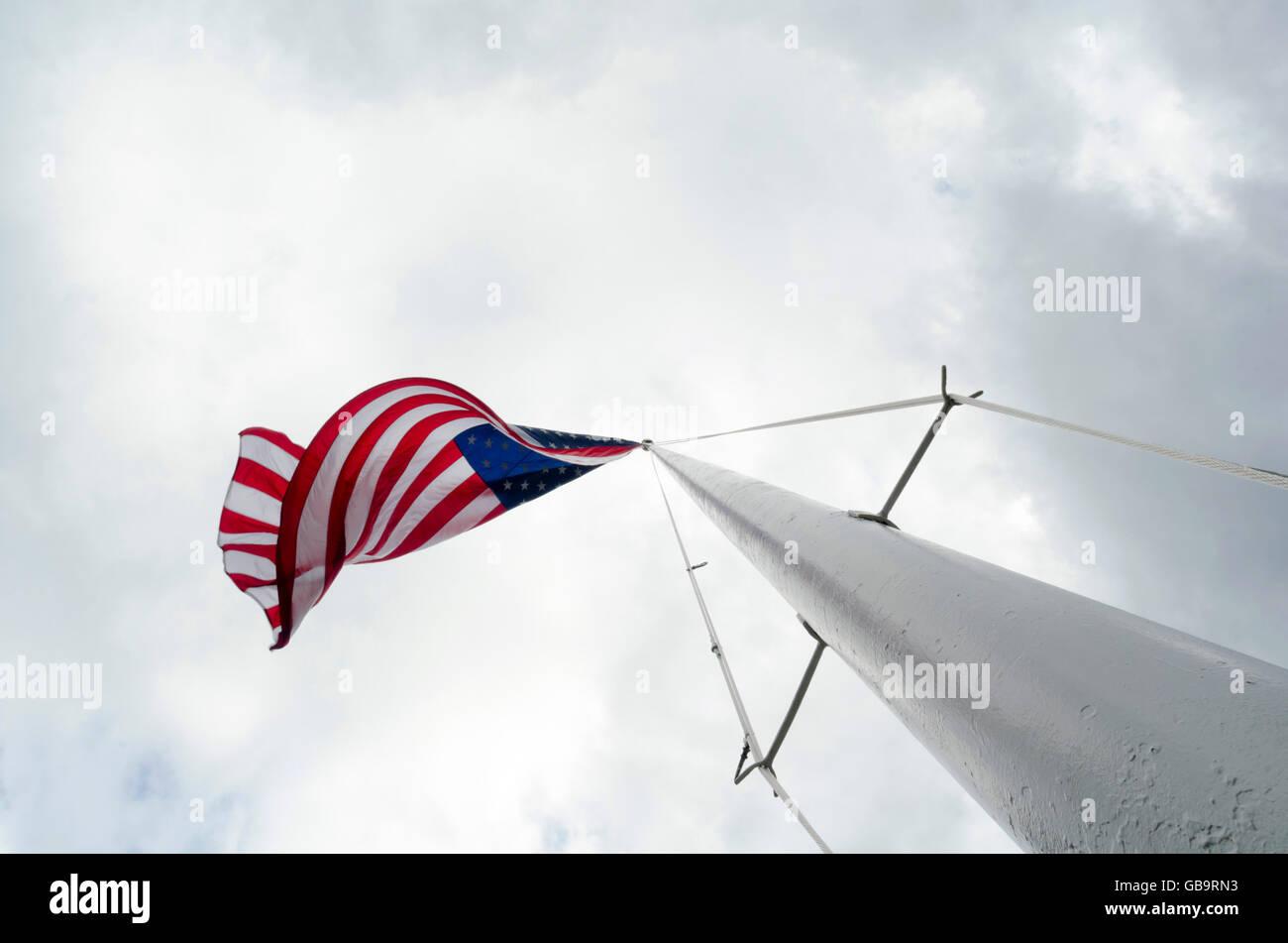 American flag on flagpole - Stock Image