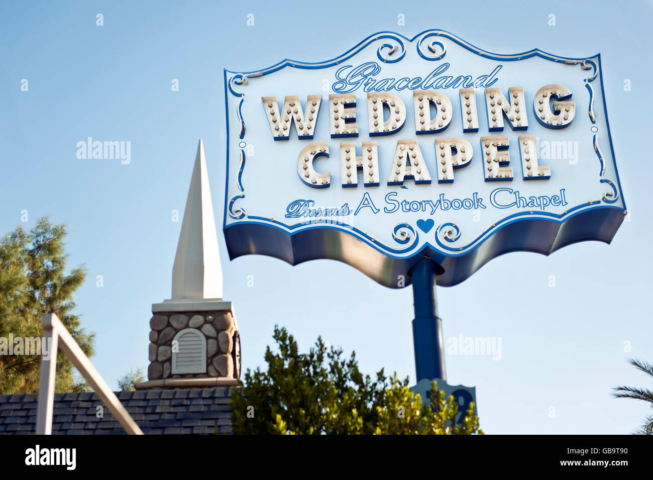 Graceland Wedding Chapel.Graceland Wedding Chapel In Las Vegas Nevada Stock Photo
