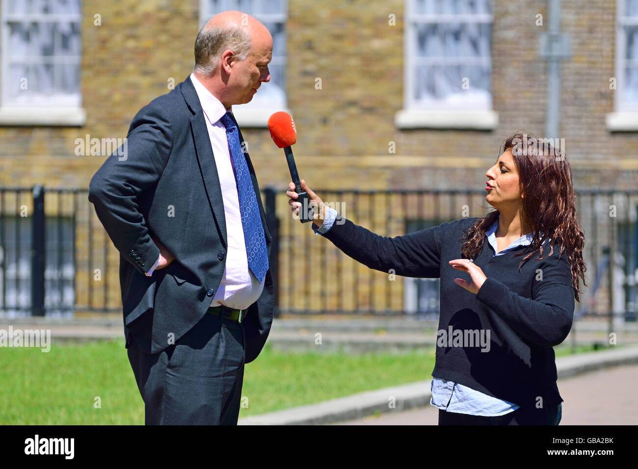 Chris Grayling MP (Conservative: Epsom and Ewell), now Transport Secretary - College Green, Westminster, 2016 - Stock Image