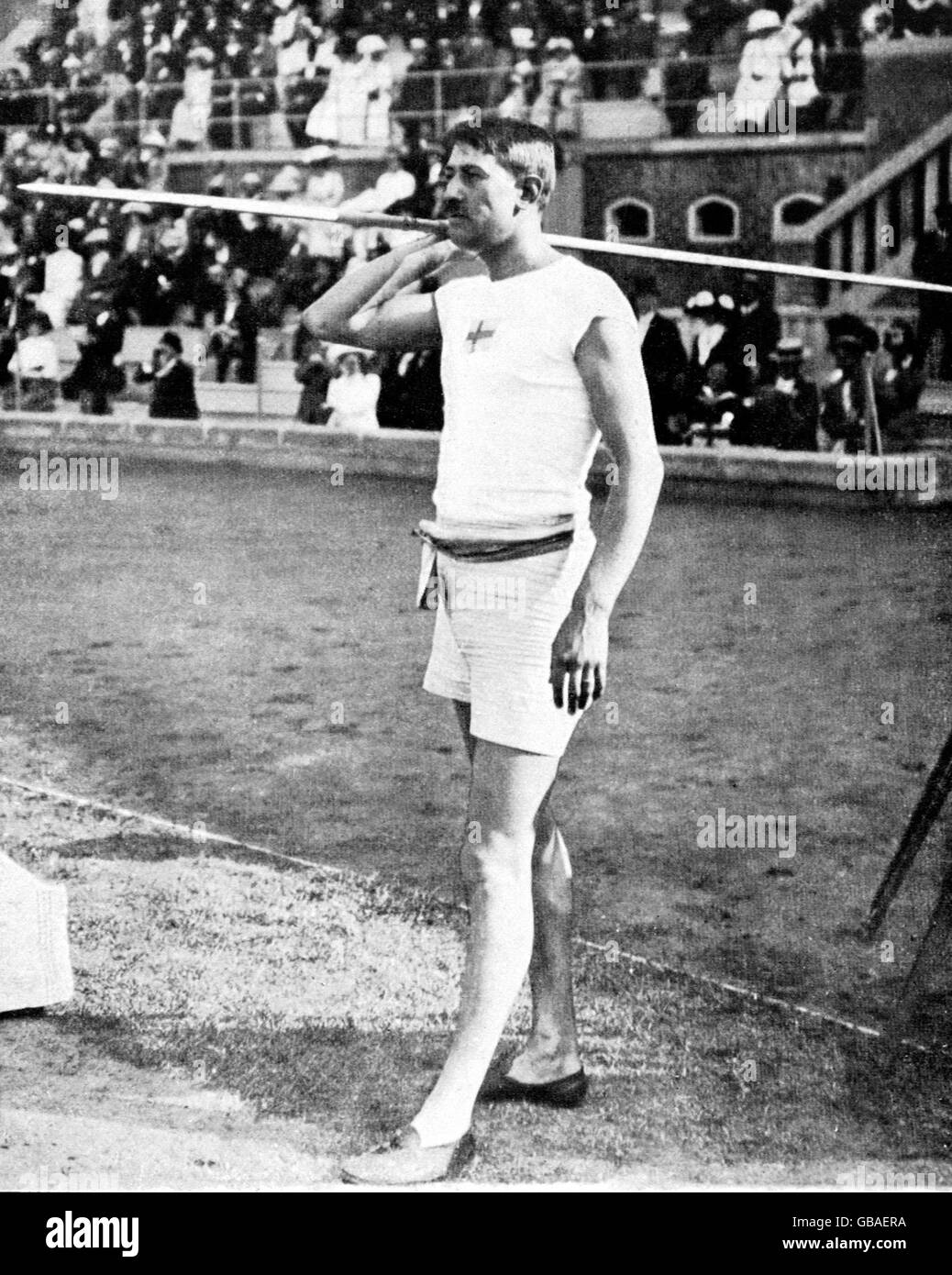 Athletics - Stockholm Olympic Games 1912 - Men's Javelin (Best Hand) - Stock Image