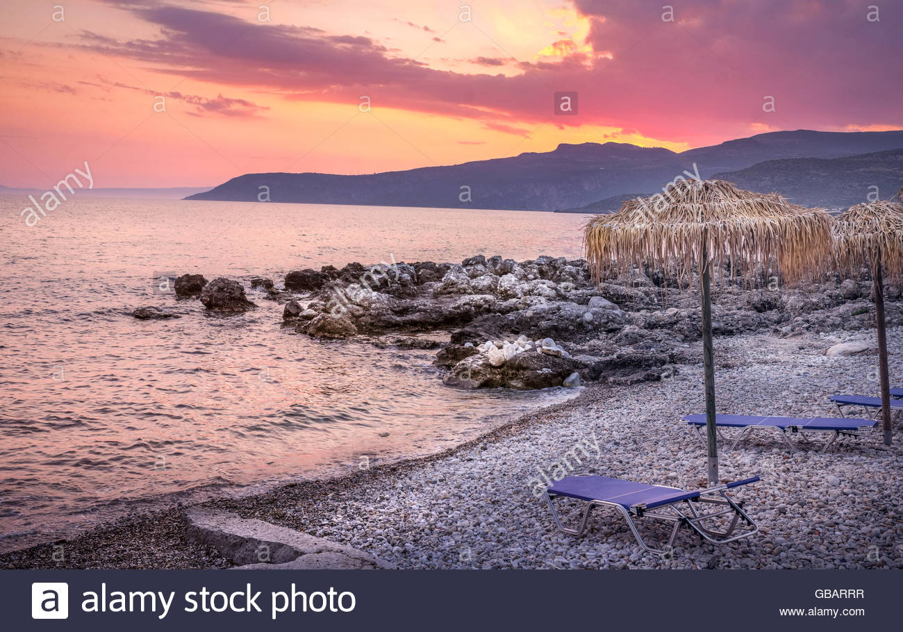 Kardamyli Kardamili Peloponnese Greece sunset - Stock Image