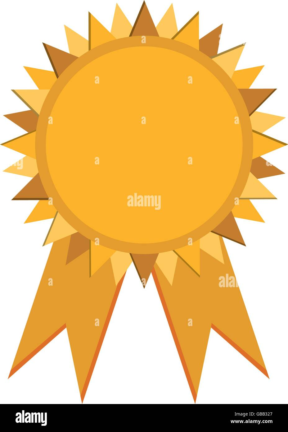 prize badge with ribbons icon - Stock Image